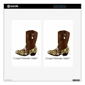 Western Boot Cowgirl Saturday Night Dance Skins For Kindle Fire