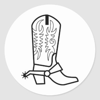 Western Boot Outline Classic Round Sticker