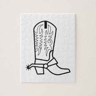 Western Boot Outline Jigsaw Puzzle