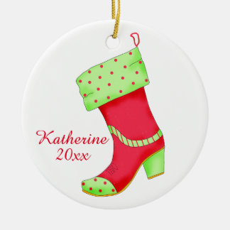 Western Boot Shoe Lover with Name Christmas Double-Sided Ceramic Round Christmas Ornament