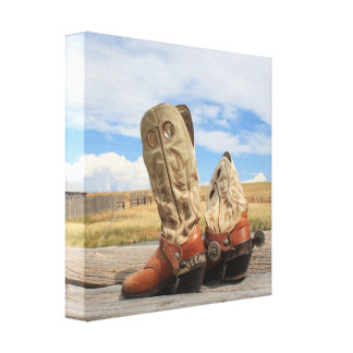 Western Boots and Spurs Wrapped Canvas
