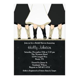 Western Boots Bridal Shower Invitation Black Taupe