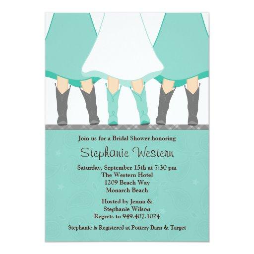 Western Boots Bridal Shower Invitation Mint Gray