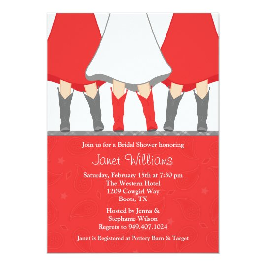 Western Boots Bridal Shower Invitation Red