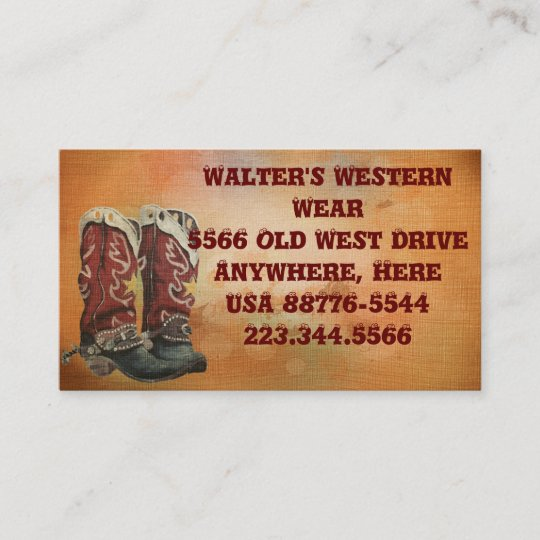 Western boots business cards zazzle western boots business cards reheart Image collections
