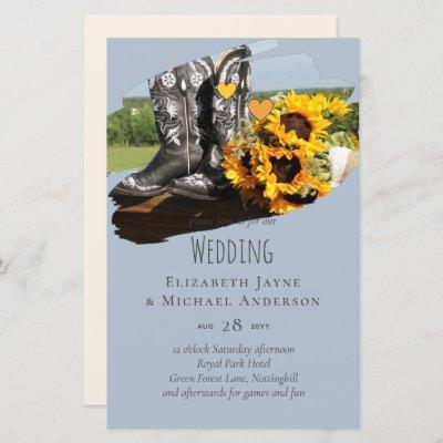 Western Boots Sunflowers Rustic Wedding