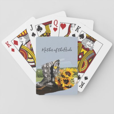 Western Boots Sunflowers Rustic Wedding Playing Cards