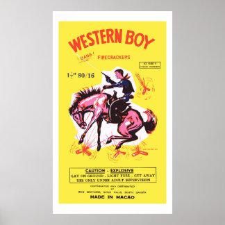Western Boy (Vintage US Firecracker) Poster