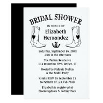 Western Bridal Shower Black Cowboy Boots Country Invitation