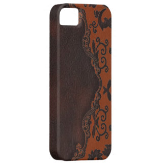 western Brown leather orange Damask iphone5 case iPhone 5 Case