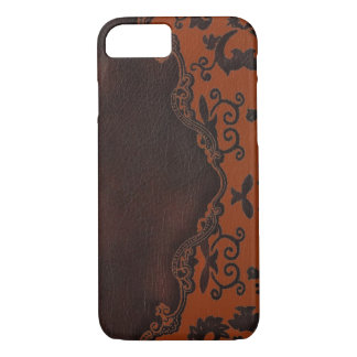 western Brown leather orange Damask iPhone 7 case