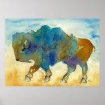 Western Buffalo Stylized art form Poster