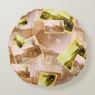 Western Building Collage Round Pillow