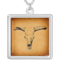 Western Bull Horns Silver Plated Necklace