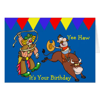 Western Bull Rider and Rodeo Clown Cartoon Card