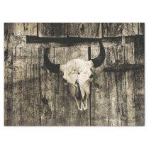 Western Bull Skull Barn Wood Sepia Vintage Rustic Tissue Paper