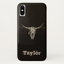Western Bull Skull Country Cowboy Rustic Vintage iPhone X Case