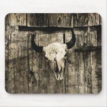 Western Bull Skull Rustic Wood Barn Sepia Vintage Mouse Pad