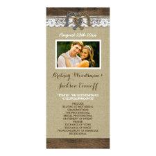 Western Burlap and Lace Horseshoe Wedding Programs