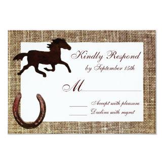 Western Burlap Cowboy Horse Horseshoe Wedding RSVP Announcement