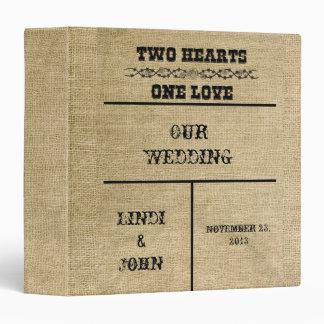 Western Burlap Wedding Album 3 Ring Binder