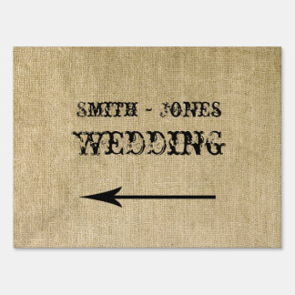 Western Burlap Wedding Direction Sign