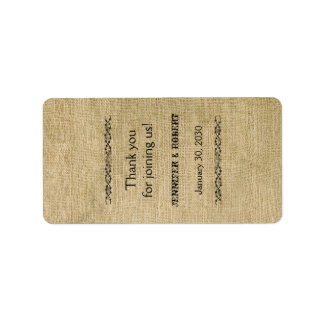 Western Burlap Wedding Lip Balm Label