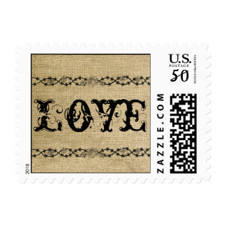 Western Burlap Wedding Love Postage