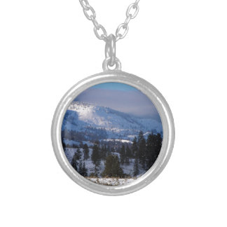 Western Canada mountains in winter Round Pendant Necklace
