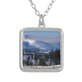 Western Canada mountains in winter Square Pendant Necklace