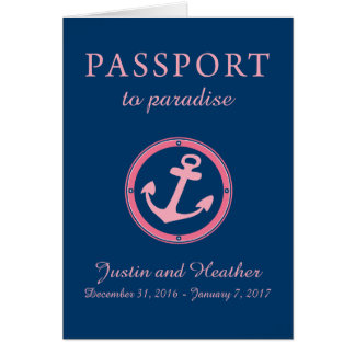 Western Caribbean Cruise Passport Pink and Navy Card