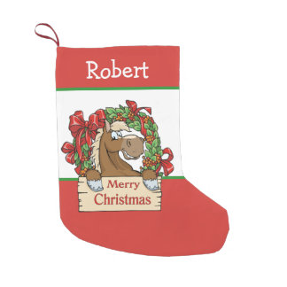 Western Cartoon Horse Red and White Small Christmas Stocking