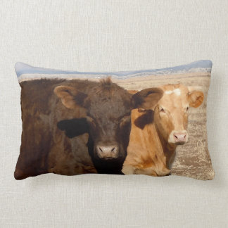 Western Cattle Cows Friends Rural Scene Lumbar Pillow