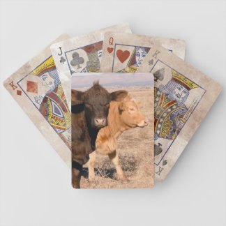 Western Cattle Cows Walking Together Rural Scene Bicycle Card Deck