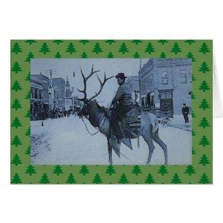 Western Christmas Card vintage Reindeer w/snowman