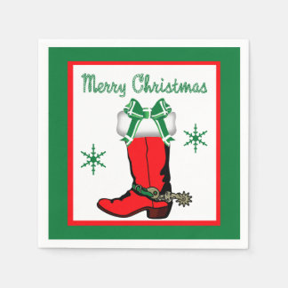 Western Christmas Cowboy Boot Merry Christmas Paper Napkin