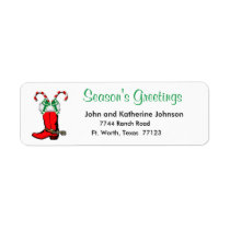 Western Christmas Cowboy Boot Season's Greetings Label
