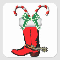 Western Christmas Cowboy Boot Stickers