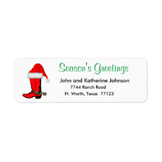 Western Christmas Cowboy Boot With Santa Hat Return Address Label