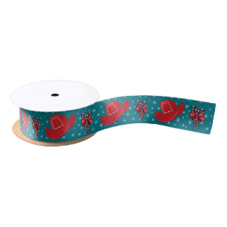 Western Christmas Cowboy Hats And Candy Canes 1.5 Satin Ribbon