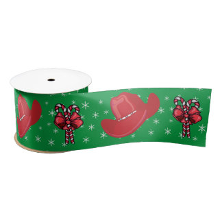 Western Christmas Cowboy Hats And Candy Canes 3 Satin Ribbon