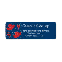Western Christmas Cowboy Hats And Candy Canes Label