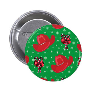 Western Christmas Cowboy Hats And Candy Canes Pinback Button