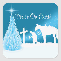 Western Christmas Cowboy Praying Winter Scene Square Sticker
