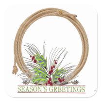 Western Christmas Cowboy Rope Wreath Stickers