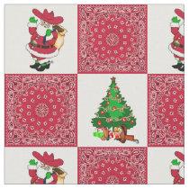 Western Christmas Cowboy Santa and Red Bandana Fabric