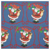 Western Christmas Cowboy Santa Fabric