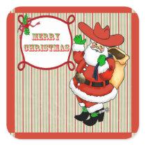 Western Christmas Cowboy Santa Stickers