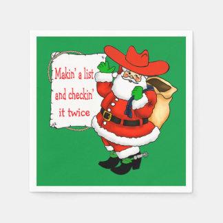 Western Christmas Cowboy Santa With List Paper Napkin
