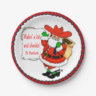 Western Christmas Cowboy Santa With List Paper Plate